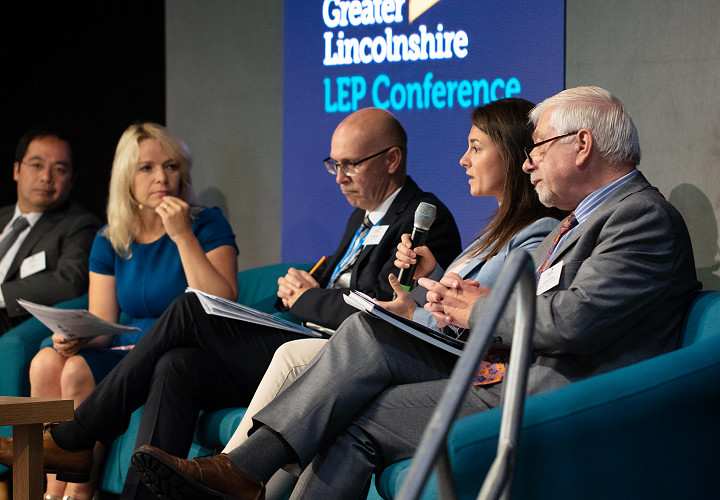 Greater Lincolnshire Local Enterprise conference, 2019, speakers in a panel